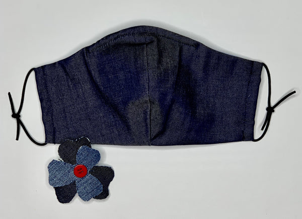 Women's Denim Mask with Detachable Brooch