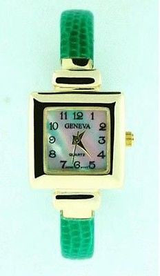 Fashion Casual Sport Square Thin Cuff Watch Costume Jewelry : 1940-G-GRN