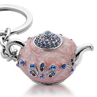 Fashion Costume Jewelry Beautiful Classic Pink Tea Pot Crystal Key Chain SKC-043