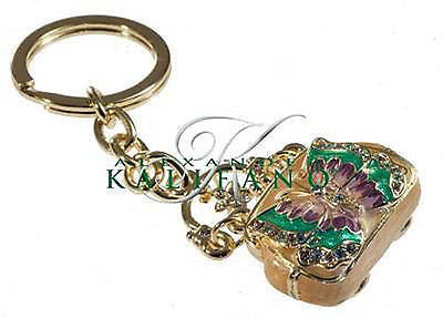 Fashion Costume Jewelry Classic Gold Butterfly Crystal Keychain SKC-015