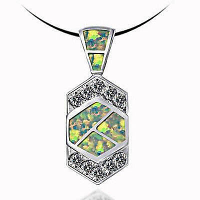 Fashion Costume Jewelry White Opal With Sterling Silver Pendant : AKP1128 WO