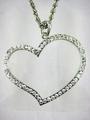 Fashion Costume Jewelry Sterling Silver Heart Necklace : SM-206