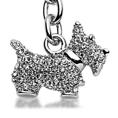 Fashion Costume Jewelry Classic White Scottish Terrier Crystal Keychain SKC-020