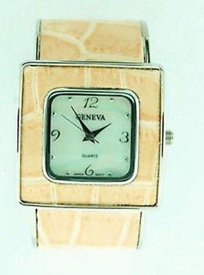 Casual Fashion Costume Jewelry Pink Square Cuff Watch : 1970-PK