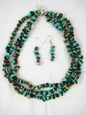 Chunky Clustered Triple Strand Necklace Costume Jewelry : 9318 Tigers Eye Turq