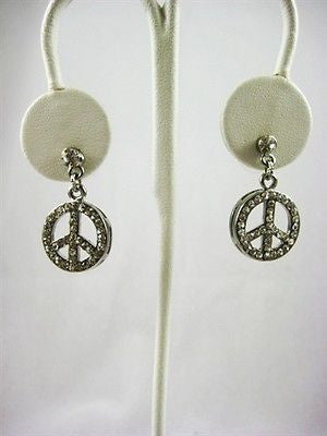 Cute Silver and Crystal Peace Sign Earings : 1104 - Peace