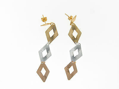 Rose Gold Silver and Gold Dangle / Drop Gold Layered Earrings 02320072