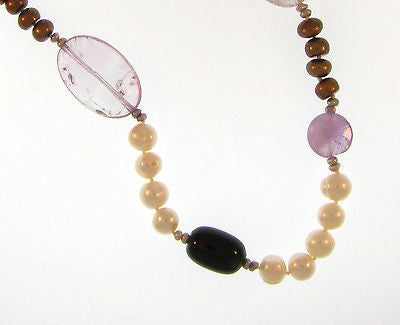 "Affordable Fashion Long Costume Jewelry 26"" Pearl & Multi-Colors : AKN7472-WO"