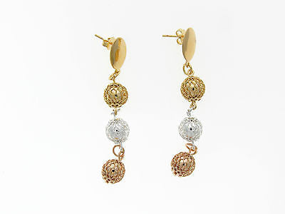 Rose Gold Silver and Gold Dangle Earrings 02320026
