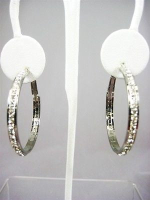 "Affordable Fashion Costume Jewelry 1.5"" Silver Crystal Hoop Earrings : 48-SILVER"