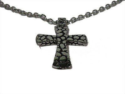 Stone Look Silver Fashion Cross Necklace : AJM0139