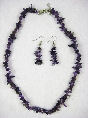 Stylish Wear - Amethyst Necklace and Earrings Fashion Jewelry : 12-02A - Ame
