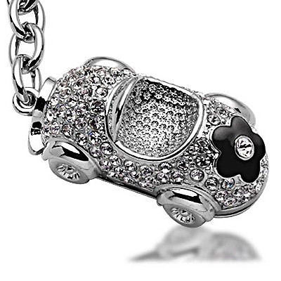 Fashion Costume Jewelry Classic Black Flower on Car Crystal Key Chain SKC-042