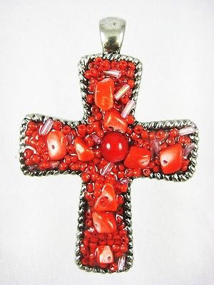 Cute and Fun Magnetic Cross Clip-On Pendant : 1811 - Coral - All Fashion Jewelry