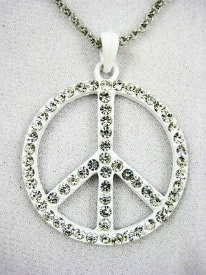 Pretty Fun White Peace Sign Necklace and Pendent Set :  11202 White