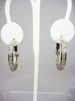 "Fashion Costume Jewelry 1"" Silver Crystal Hoop Earrings : 47-SILVER"