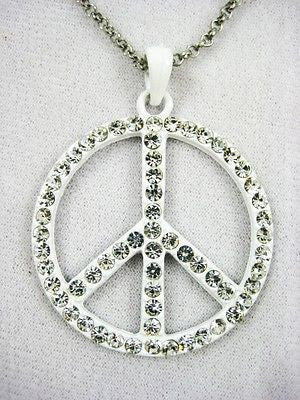 Fashion Costume Jewelry Cute and Fun Peace Sign Necklace & Pendant : 11202
