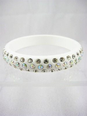 Classic Casual Costume Jewelry 3 ROW CRYSTAL BANGLE BRACELET 413 - White