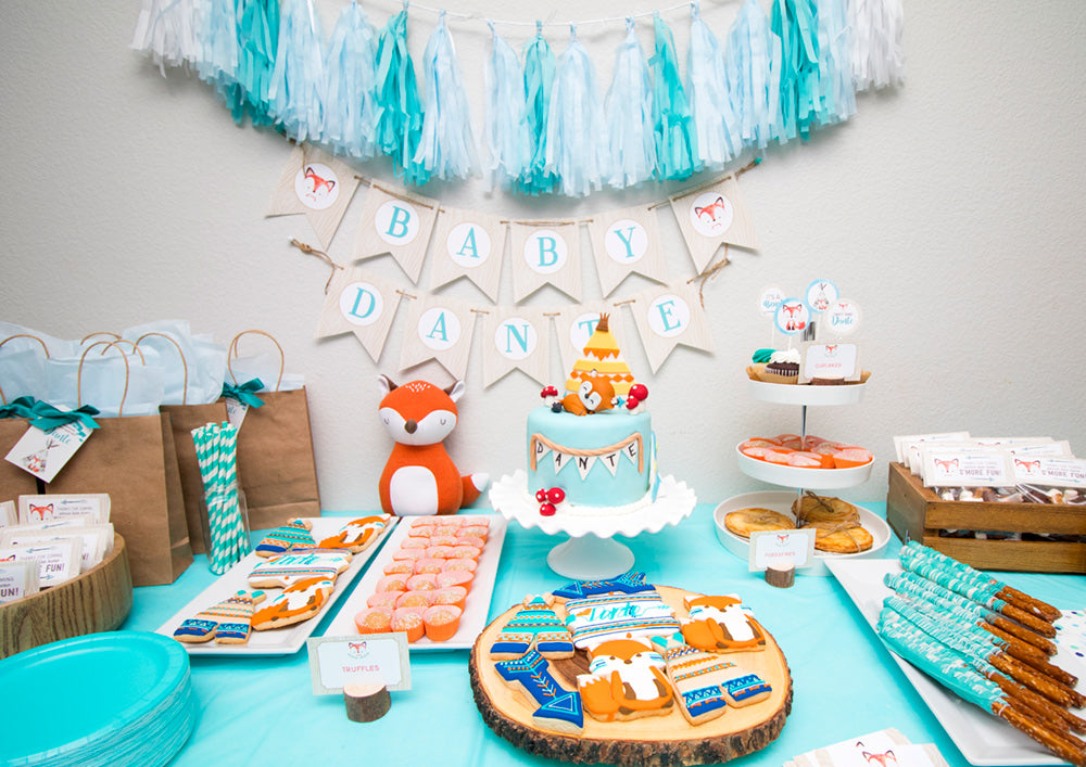 Party Sprinkles Tagged Fox Baby Shower