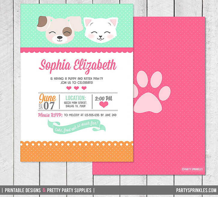 Kitten Puppy Birthday Party Invitation