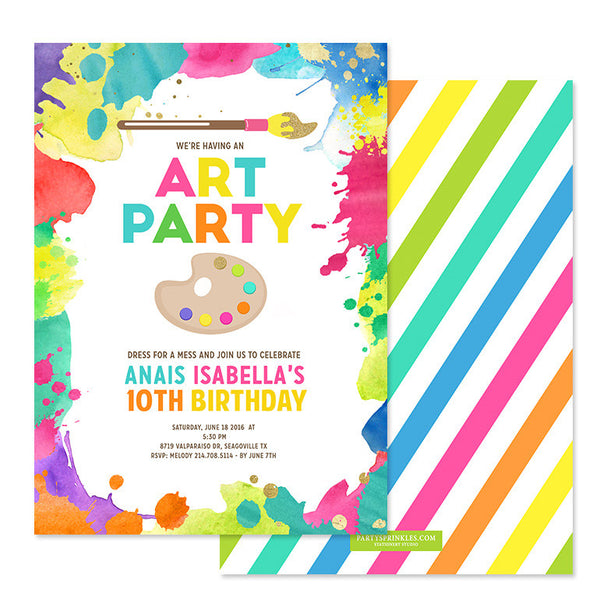 Art Birthday Invitation