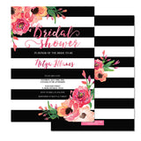 "Black Stripes & Peonies Bridal Shower Invitations - ""Nitza"""