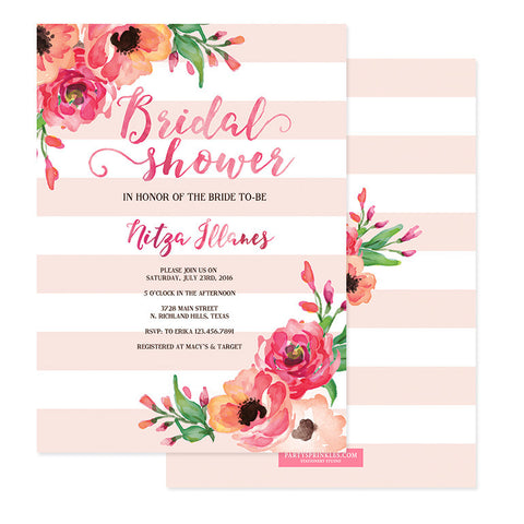 "Pink Stripes & Peonies Bridal Shower Invitations - ""Nitza"""