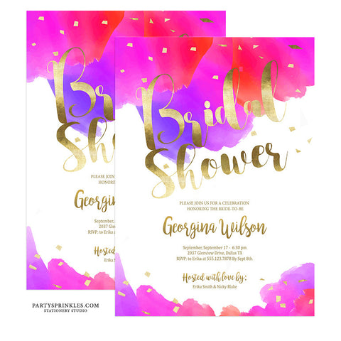 "Vibrant Watercolors Bridal Shower Invitation - ""Georgina"""
