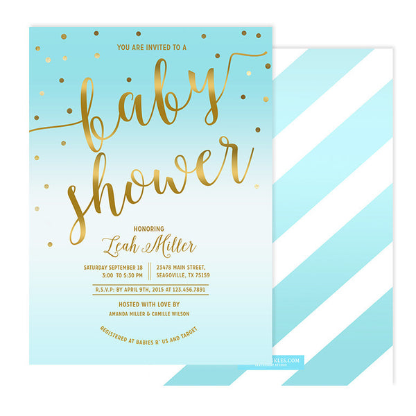 Blue & Gold Baby Shower Invitation - Leah