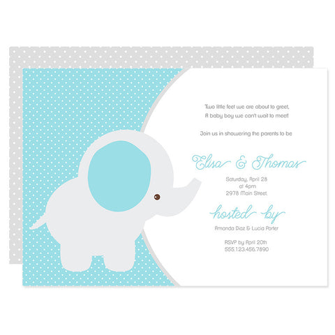Blue & Gray Baby Elephant Invitation