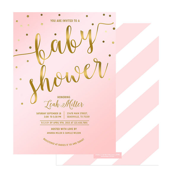 Blush Pink & Gold Baby Shower Invitation - Leah