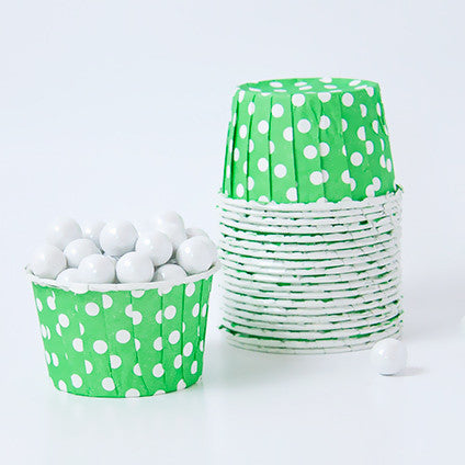 Candy Cups - Polka Dots - Lime Green