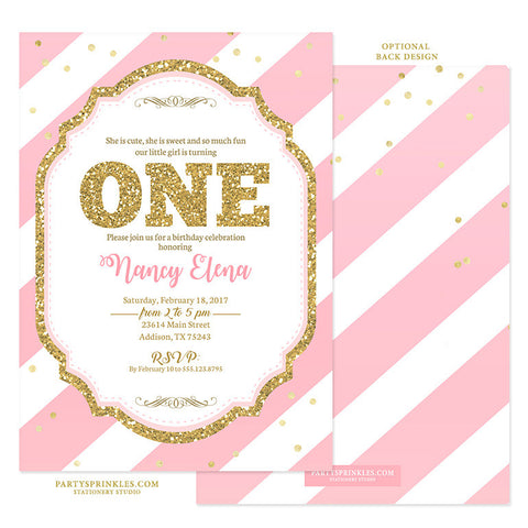 Gold & Light Pink Stripes 1st Birthday Invitation