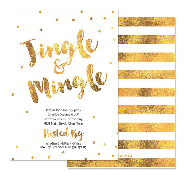Gold Confetti Christmas Invitation - Angelina