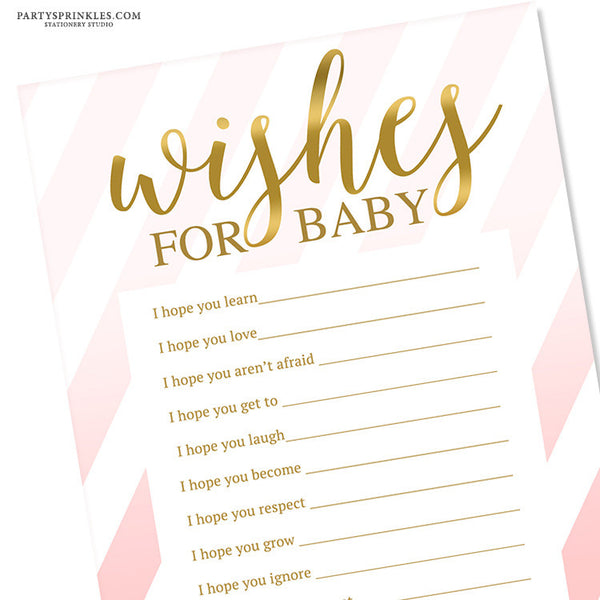 Wishes for Baby Card - Pink Stripes & Gold