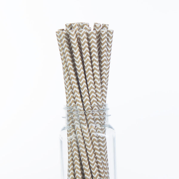 Paper Straws : Gold Chevron