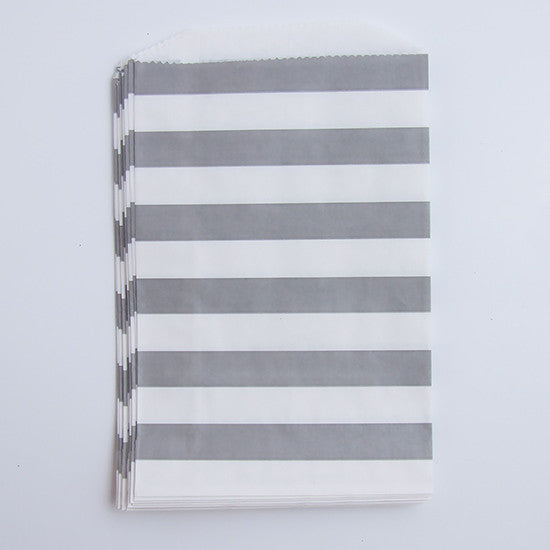 Treat Bags - Gray Rugby Stripes