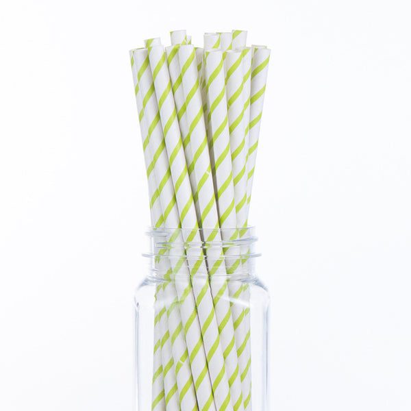 Paper Straws : Green Thin Stripes