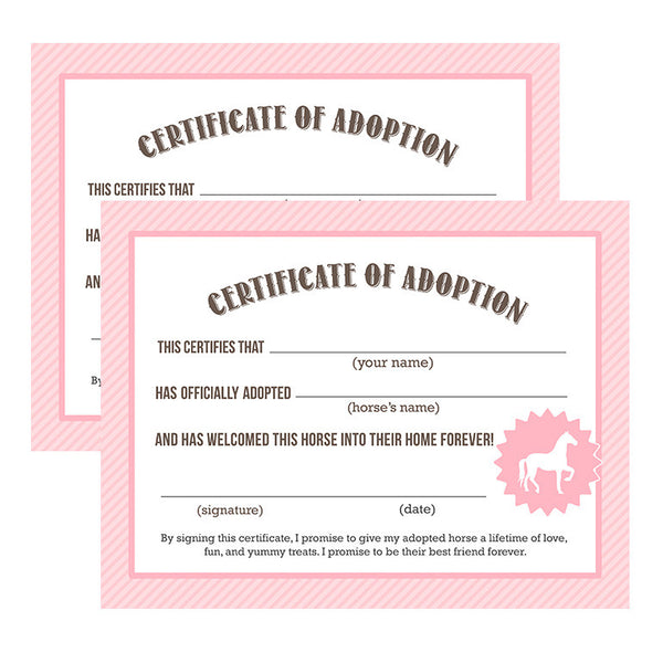 Horse Adoption Certificates