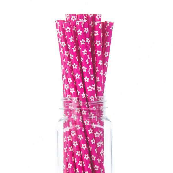 Paper Straws: White Flowers on Hot Pink