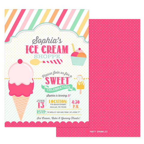 Ice Cream Parlor Invitation