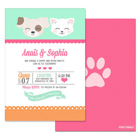 Pink & Mint Kitten & Puppy Invitation