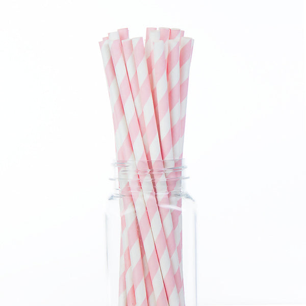 Paper Straws: Light Pink Stripes