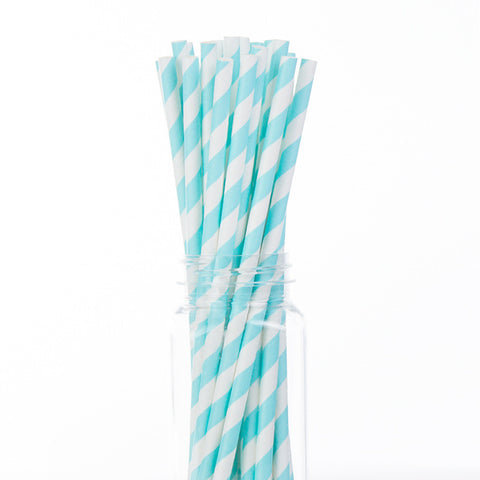 Paper Straws : Light Blue Stripes