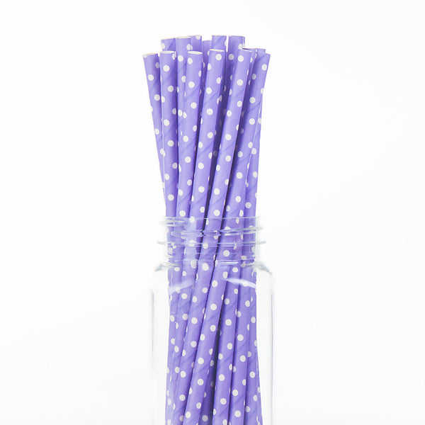 Paper Straws : White Swiss Dots on Lavender
