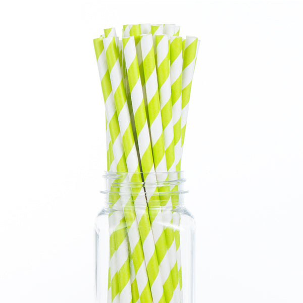 Paper Straws : Lime Green Stripes