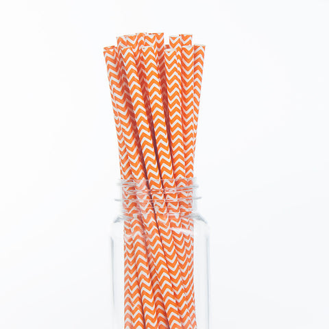 Paper Straws : Orange Chevron