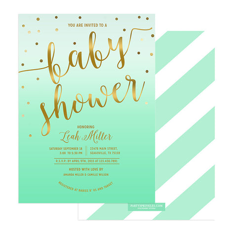 Mint & Gold Baby Shower Invitation - Leah