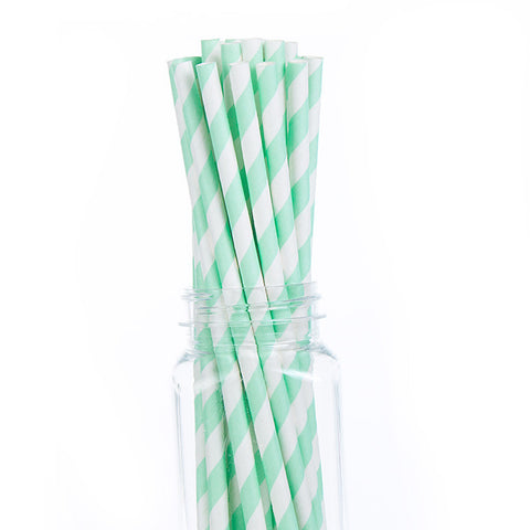 Mint Stripped Paper Straws