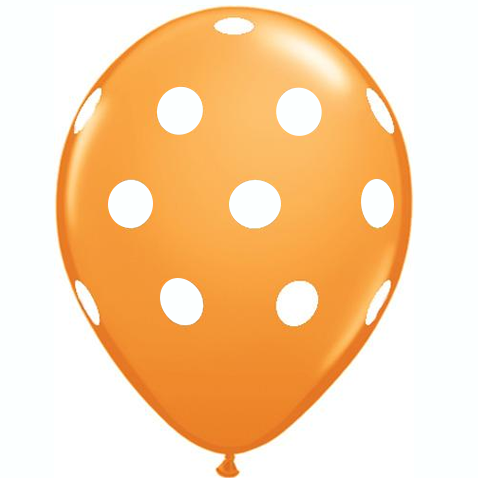 "11"" Polka Dots Balloons : Orange"